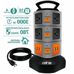 Power Strip Tower, 10 Outlets 4 USB Ports with 6ft Heavy Dut