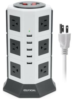 JACKYLED Power Strip Tower Dual Switch Charging Station Char