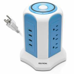 Power Strip Tower Surge Protector JACKYLED 4 USB 9 Outlet Ch