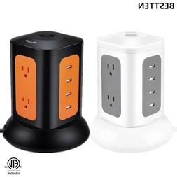Tower Power Strip 6 Outlet 4 USB Charging Port Power Strip W
