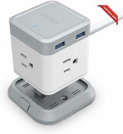 BESTEK Power Strip with USB, Vertical Cube Mountable Power O