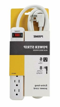 Prime Wire  Cable PB801115 6-Outlet White Power Strip with 8