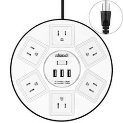 Round Power Strip Surge Protector with Overload Protection,
