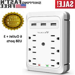 Socket Wall Mount Surge Protector 3 AC Outlet 3 USB Ports 2