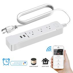 WiFi Smart Outlet Power Strip - Flat Plug Surge Protector wi