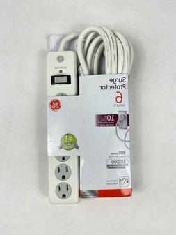 Surge Protector GE Power Strip 6 Outlets 10 ft Extra Long Ex