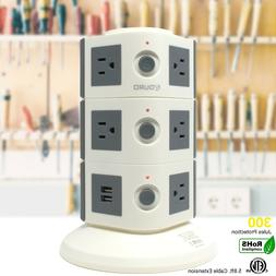 Aduro Surge Power Tower with 11 Outlets & Dual USB Ports Flo