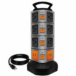 Surge Protector Power Strip 14 Outlets 4 USB/ Rotating Tower