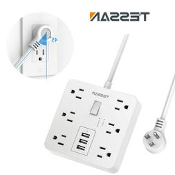 Surge Protector Power Strip with 6 Outlets 3 USB Ports Flat