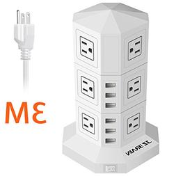 JZBRAIN Tower Surge Protector Power Strip 12-Outlet 6-USB Wi