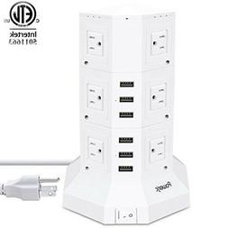 Tower Surge Protector Power Strip Sock 12 AC Outlets with 6