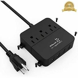 USB Power Strip Wall Mountable Surge Protector Smart 3 Outle