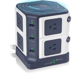USB POWER STRIP WITH WIRELESS CHARGER BESTEK 8-OUTLET SURGE