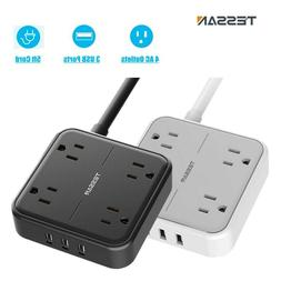 Wall Mount Power Strip with 4 Outlets, 3 USB Ports, Flat Plu