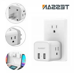 Wall Plug 3 Electrical Outlet 2USB Charging Port Multi Plug