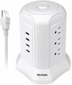 White 4 Smart Fast USB Ports Surge Protector Power Strip Tow