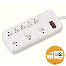 White 8 Outlet Flat Plug Power Strip With Grounded 3 Prong 5