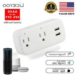 Wi-Fi Power Strip Smart Socket Plug with 2 USB Charging Port