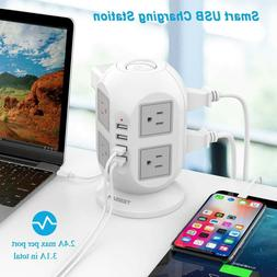 Widely Spaced Outlet Power Strip Surge Protector with USB Ch