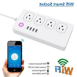 WiFi Smart Power Strip Alexa Protector With 4 USB Ports And