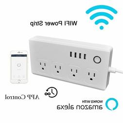 WiFi Smart Power Strip Surge Protector with 4 AC Outlets and